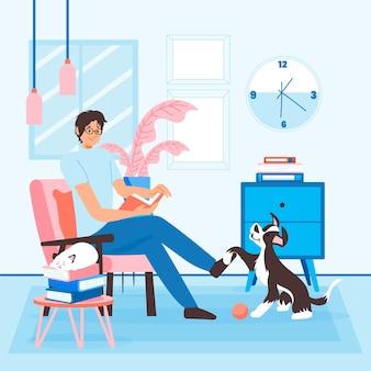 Dagelijkse scènes met huisdierenconcept