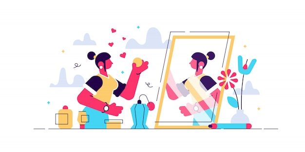 Dagelijkse schoonheid leven illustratie. plat kleine vrouw make-up persoon concept. huidverzorging, cosmetologie en haarbehandeling als dagelijkse gezichtsbehandeling voor vrouwen. mode-industrie voor aantrekkelijke dame