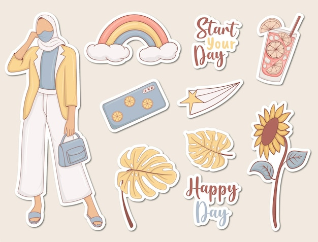 Dagelijkse stickers met meisje en enkele elementen
