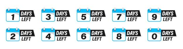 Dagen links badges en stickers. tel tijd verkoop. aantal resterende dagen. countdown links dagen banner. aftellen vector sjabloon voor spandoek. negen, acht, zeven, zes, vijf, vier, drie, twee, één, nul dagen over