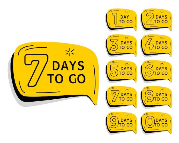 Dagen resterende countdown timer voor verkoop en promotie