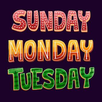 Dagen van de week belettering collectie