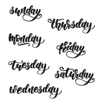Dagen van de week belettering ontwerp