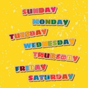 Dagen van de week pak