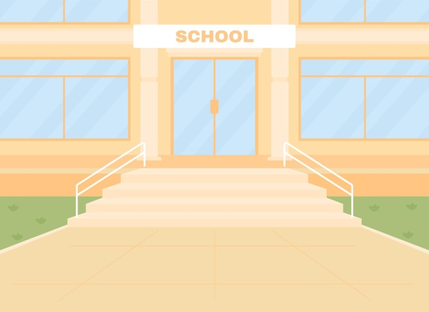 Daglicht lege school ingang egale kleur vectorillustratie
