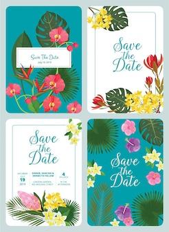Daguitnodiging opslaan. decoratieve tropische bloemen blad planten frame natuur bruiloft kaarten ontwerpsjabloon