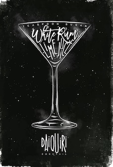 Daiquiri-cocktail met letters op bordstijl