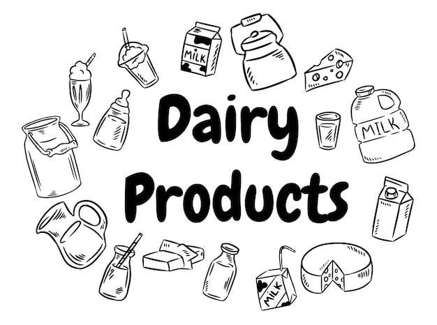 Dairy products doodles