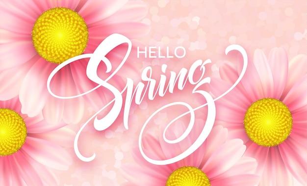 Daisy flower achtergrond en hallo lente belettering. illustratie
