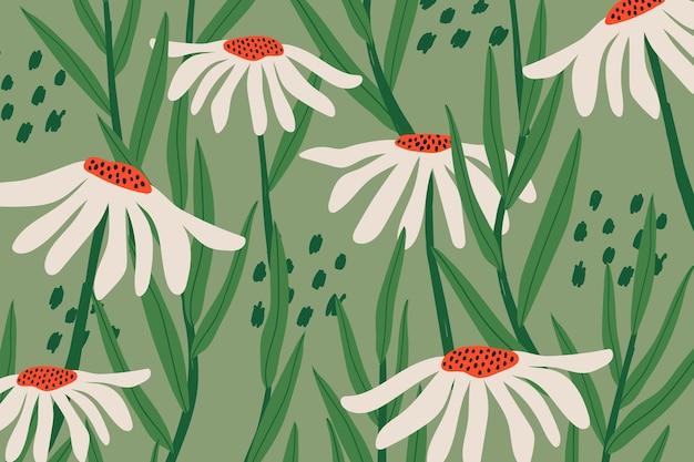 Daisy patroon vector achtergrond in groen