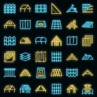 Dak pictogrammen instellen. overzicht set dak vector iconen neon kleur op zwart Premium Vector