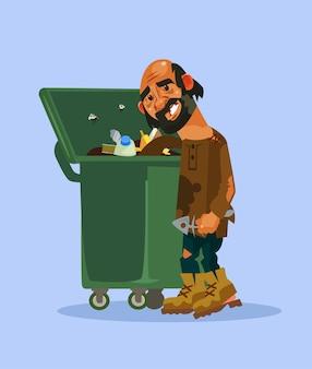 Dakloze man karakter zoekt voedsel in vuilnisbak