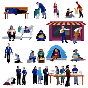 Dakloze mensen icons set