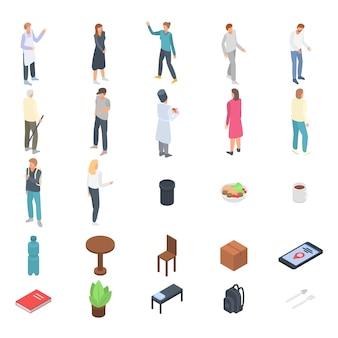 Dakloze onderdak iconen set, isometrische stijl