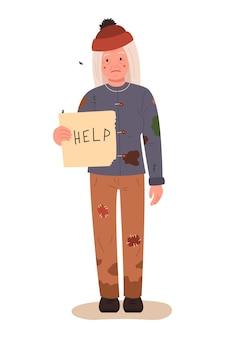 Dakloze vrouw met een teken voor hulp.