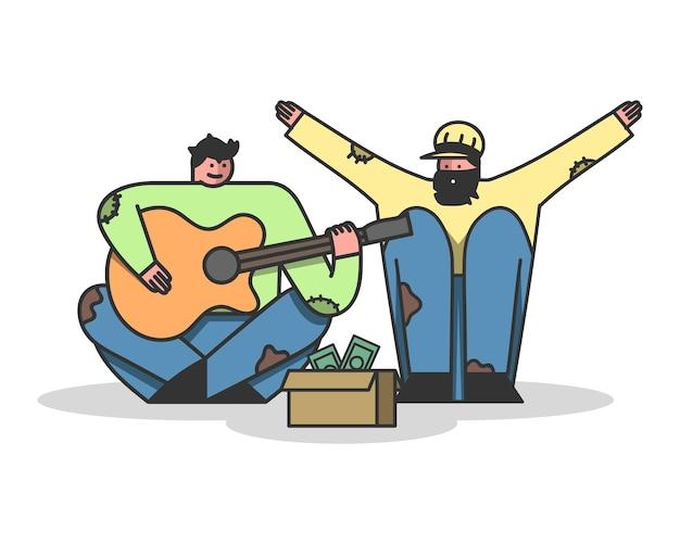 Daklozen bedelen geld, zingend en gitaar spelen