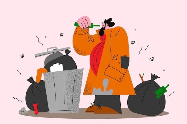 Daklozen die naar de illustratie van het voedselconcept zoeken