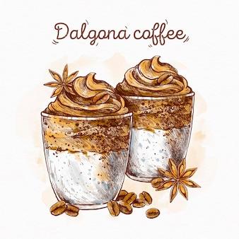 Dalgona koffie illustratie concept