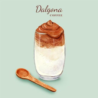 Dalgona koffie illustratie in klein kopje