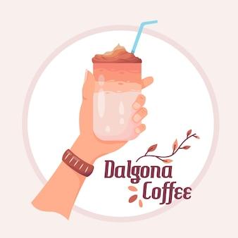 Dalgona koffie illustratie