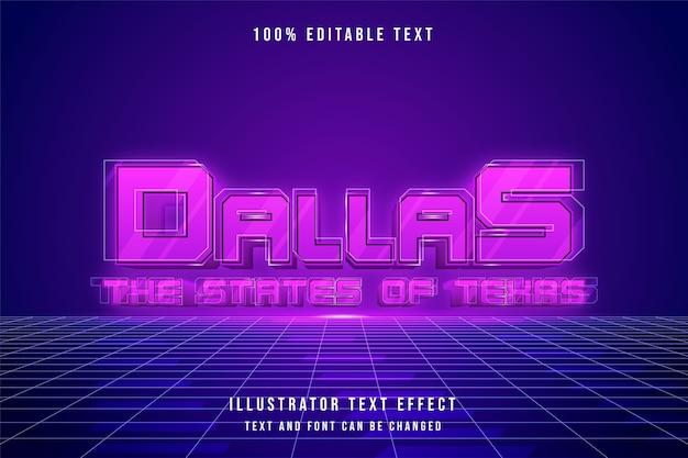 Dallas, 3d bewerkbaar teksteffect roze gradatie paars neon futuristisch stijleffect