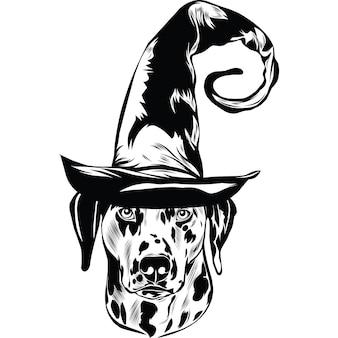 Dalmatische hond in heksenhoed voor halloween