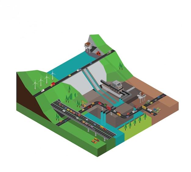 Dam hydroelectriciteit krachtstation isometrisch