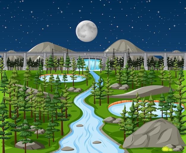 Dam in natuurlandschap bij nachtscène