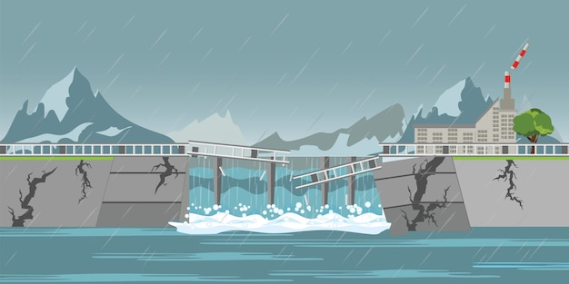 Dam stort in en zware regenval valt.