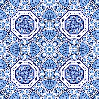 Damast bloemen blauw naadloos oosters bloeien vignet tegels ontwerp