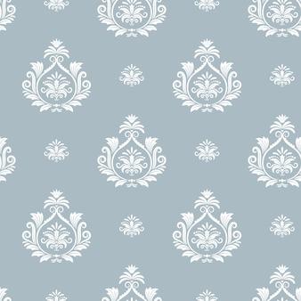 Damast bloemmotief. textielontwerpachtergrond, eindeloos naadloos decoratief decor, vectorillustratie