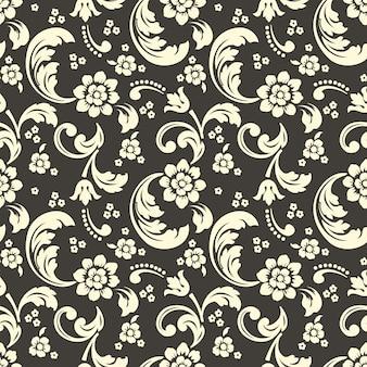 Damast en bloemen naadloos patroon
