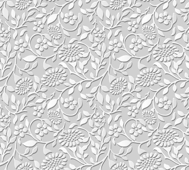 Damast naadloze 3d papier kunst spiraal blad zon bloem