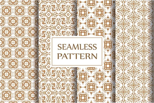 Damast naadloze patroon ingesteld voor behang, textiel, onmiddellijke verpakking