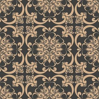 Damast naadloze retro patroon achtergrond oosterse ronde spiraal kromme cross frame wijnstok blad bloem ketting.