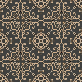 Damast naadloze retro patroon achtergrond oosterse spiraal kromme cross frame blad wijnstok bloem ketting.