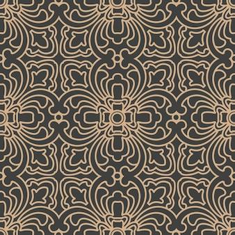 Damast naadloze retro patroon achtergrond oosterse spiraal kromme kruis frame ketting wijnstok.