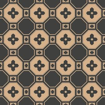 Damast naadloze retro patroon achtergrond oosterse veelhoek vierkante kruis frame bloem ketting.