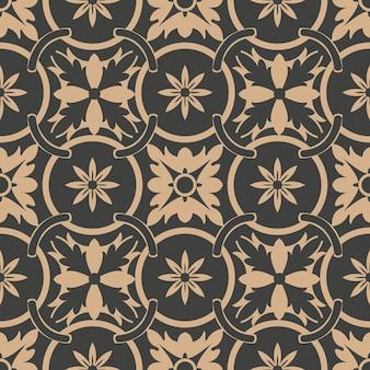 Damast naadloze retro patroon achtergrond ronde kromme cross frame ketting blad bloem.