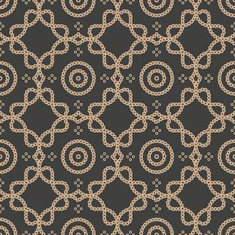 Damast naadloze retro patroon achtergrond ronde kromme kruispunt lijn frame ketting.