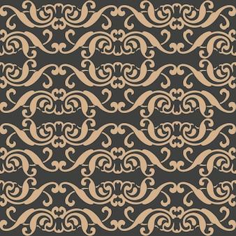 Damast naadloze retro patroon achtergrond spiraal kromme cross aboriginal frame wijnstok crest.