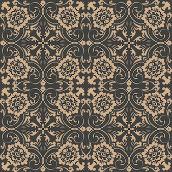 Damast naadloze retro patroon achtergrond spiraal kromme kruis oosterse frame ketting blad wijnstok bloem.