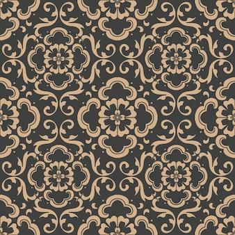 Damast naadloze retro patroon achtergrond spiraal kromme kruis oosterse frame ketting wijnstok bloem.