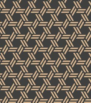 Damast naadloze retro patroon achtergrond spiraal veelhoek cross frame kettinglijn.