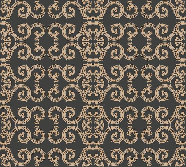 Damast naadloze retro patroon achtergrond spiraal vortex kromme cross oosterse frame ketting crest.