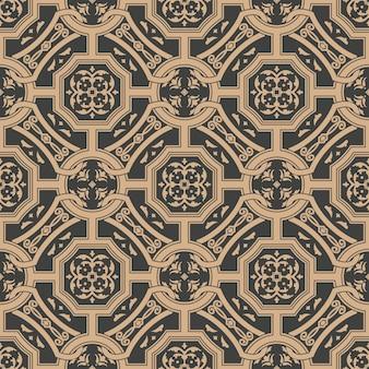 Damast naadloze retro patroon achtergrond veelhoek cross frame ketting blad bloem.