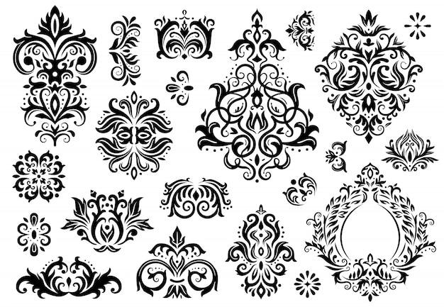 Damast ornament. vintage bloemen takjes patroon, barokke ornamenten en illustratie set victoriaanse decor sierpatronen
