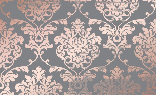 Damast roze gouden ornament patroon