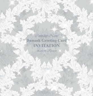 Damast uitnodiging vector illustratie handgemaakte ornament decor. barokke fonkelende achtergrondtexturen