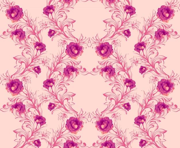 Damastpatroon met decor van het roze bloemen het met de hand gemaakte ornament. barokke achtergrondtexturen